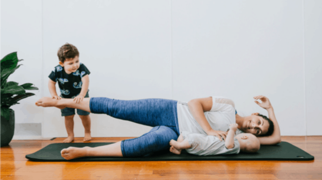 Postnatal Pilates mums and bubs classes and moves you can do at home